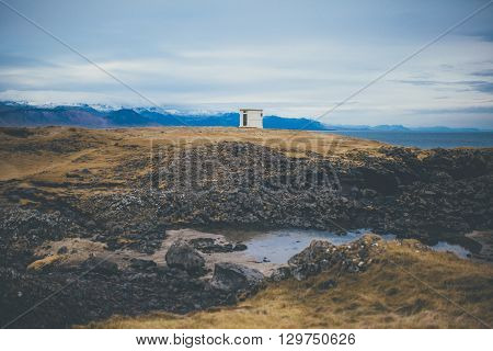 Volcanic landscape in Iceland. Icelandic rural scenery with volcanic rocks