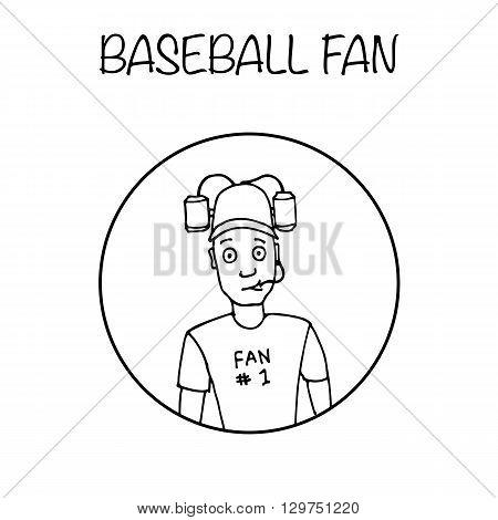 Fan with beer helmet. Sport, baseball. Hand drawn black and white vector stock illustration