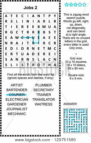 Jobs and occupations themed zigzag word search puzzle 2 (suitable both for kids and adults). Answer included.
