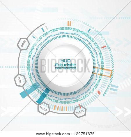 Vector illustration Abstract futuristic circuit board, hi-tech computer digital technology concept, Blank white 3d paper circle for your design on light gray color background