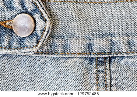 Jeans Denim Clothing With Metal Button On Clothing Textile Industrial