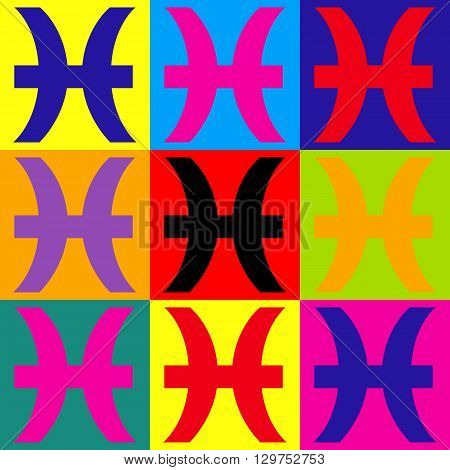 Pisces sign. Pop-art style colorful icons set.