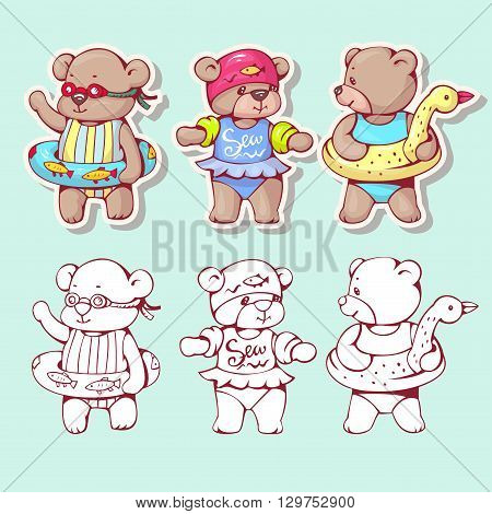 Vector set of funny cartoon bears with swimming circles isolated from a background. Monochrome and color version. Hand-drawn illustration.