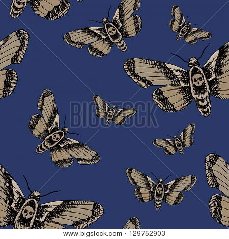 Death head moth. Hand drawn vector stock illustration. Seamless background pattern