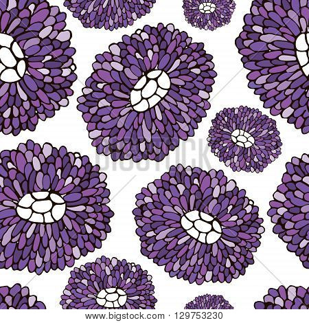 Seamless Flower pattern. Botanic texture with asters. Vector floral pattern in doodle style spring floral background.