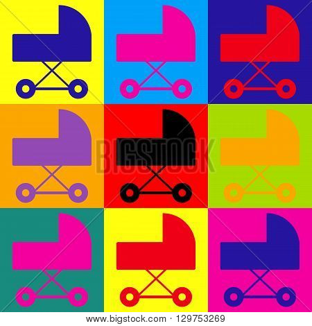Pram sign. Pop-art style colorful icons set.