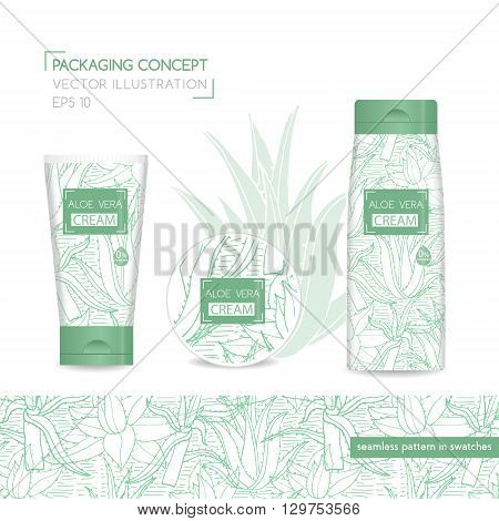Packing concept with aloe vera. Three realistic cosmetic tube and jar with ready design. Seamless pattern for design in swatches. Vector Illustration