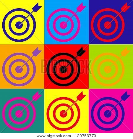 Target with dart. Pop-art style colorful icons set.