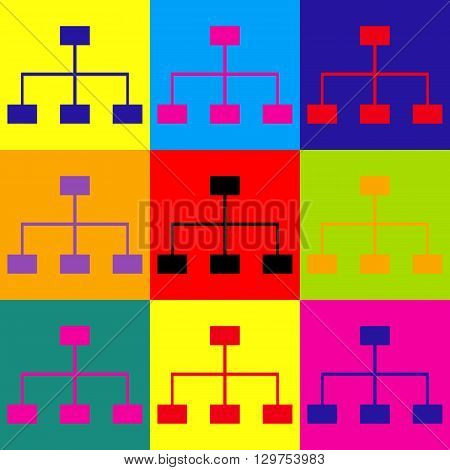 Site map sign. Pop-art style colorful icons set.