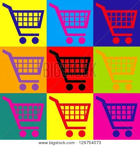 Shopping cart sign. Pop-art style colorful icons set.