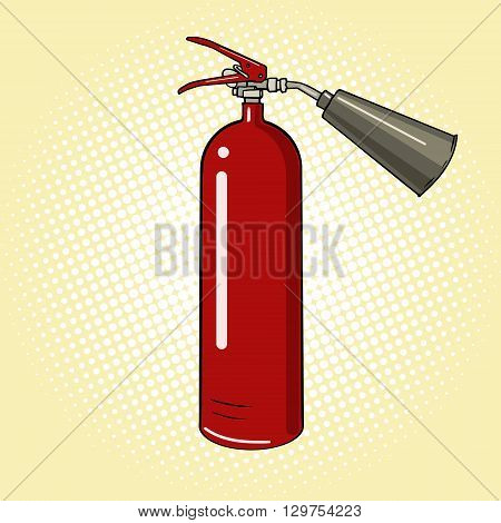 Fire extinguisher cartoon pop art vector illustration. Vintage retro style.