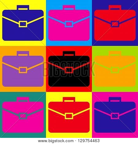 Briefcase sign. Pop-art style colorful icons set.