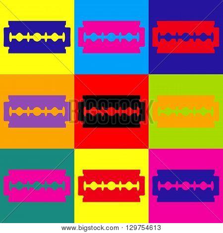 Razor blade sign. Pop-art style colorful icons set.