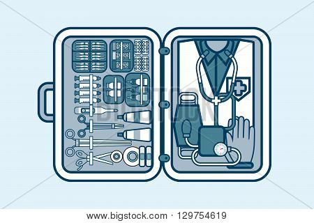 Set Stock vector illustration of medical supplies, drugs, pills, tools, clothing in medical suitcase in line style element for info graphic, website, icon, games, motion design, video