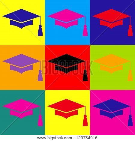 Mortar Board or Graduation Cap, Education symbol. Pop-art style colorful icons set.
