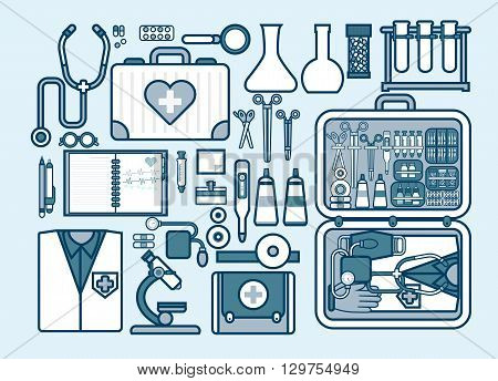 Set Stock vector illustration of medical supplies, drugs, pills, tools, clothing, medical suitcase in line style element for info graphic, website, icon, games, motion design, video