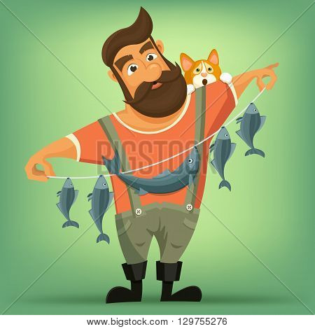 Brutal handsome bearded fisherman with cat. Vector cartoon illustration