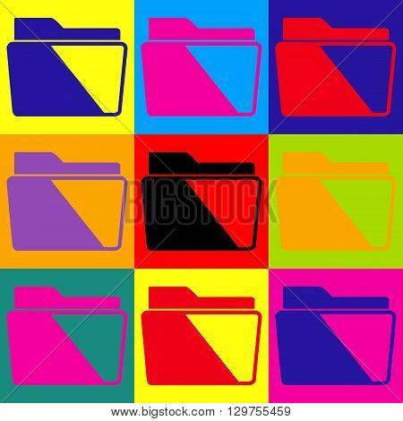 Folder sign. Pop-art style colorful icons set.