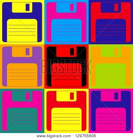 Floppy disk sign. Pop-art style colorful icons set.