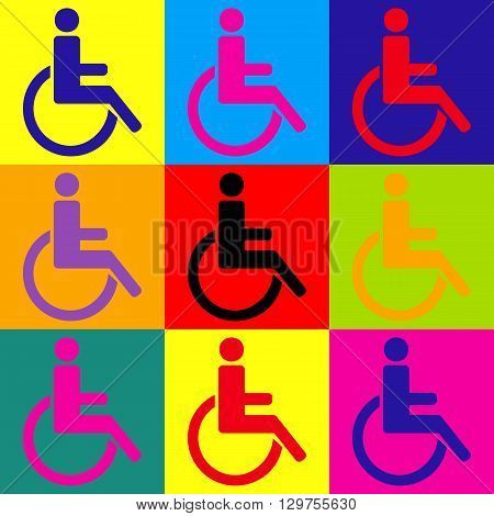 Disabled sign. Pop-art style colorful icons set.