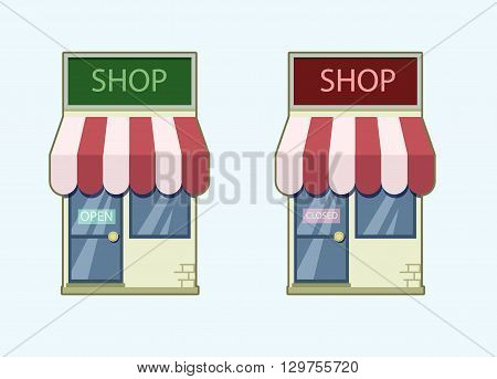 Shop icon set. Closed open. Vector stock illustration