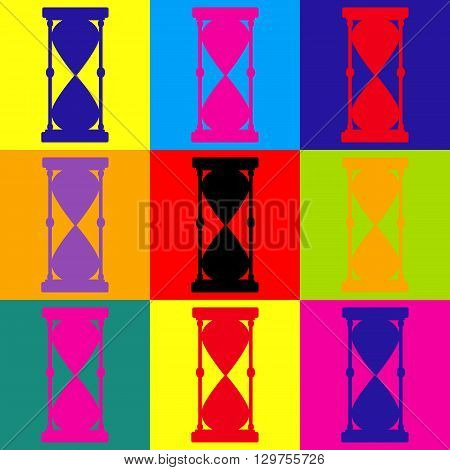 Hourglass sign. Pop-art style colorful icons set.