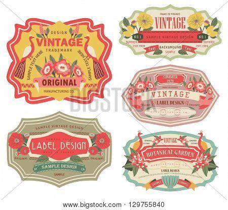 vintage labels with flower