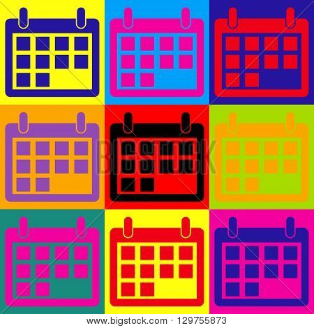 Calendar sign. Pop-art style colorful icons set.
