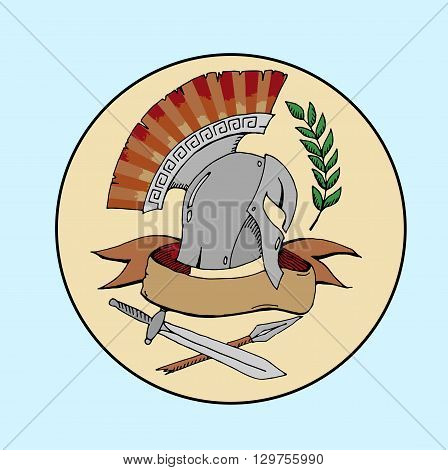 Sparta logo. Hand drawn vector stock illustraton