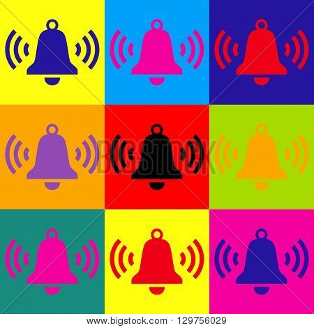 Ringing bell icon. Pop-art style colorful icons set.