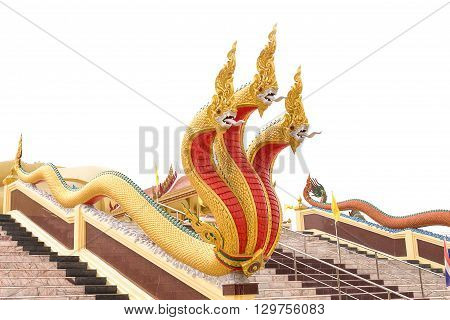 king of Naga serpent statue On the stairway entrance Cathedral. isolated White background .