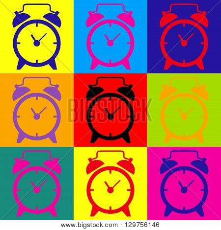 Alarm clock sign. Pop-art style colorful icons set.