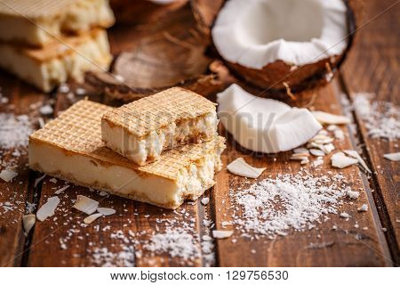 Homemade chocolate wafers on wooden background, studio shot
