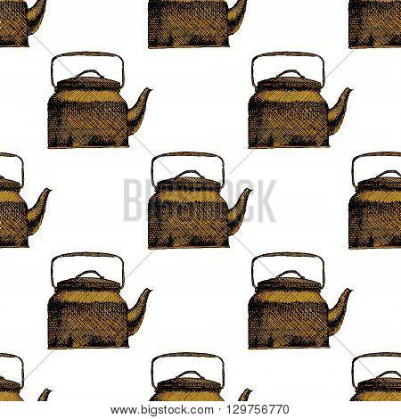 Teapot seamless background pattern. Hand drawn vector stock illustration