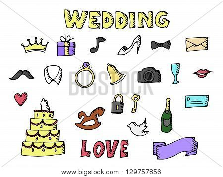 Wedding set illustration. Isolated on white background. Vector icons