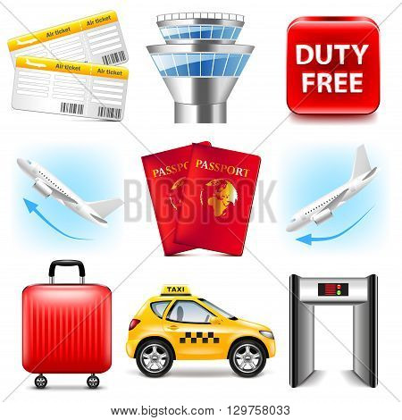 Airport icons detailed photo realistic vector set