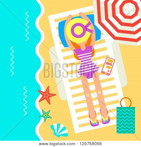 Summertime traveling card with the hipster girl laying on a chair near the beautiful ocean. Vector illustration decorated with different summer accessories:
