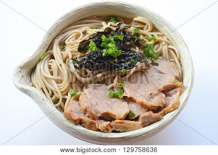 Clos eup Japanese ramen noodles with nori
