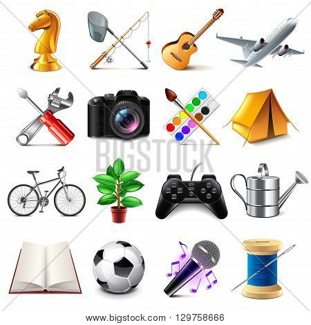 Hobby icons detailed photo realistic vector set