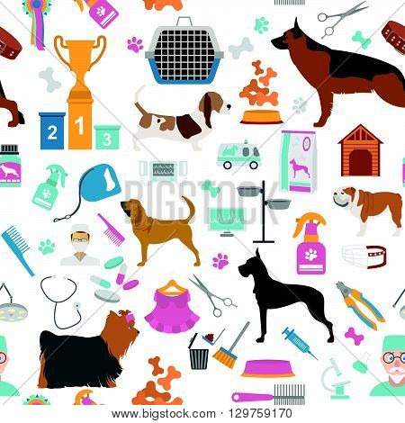 Dog seamless pattern. Heatlh care, vet, nutrition, exhibition. Vector illustration