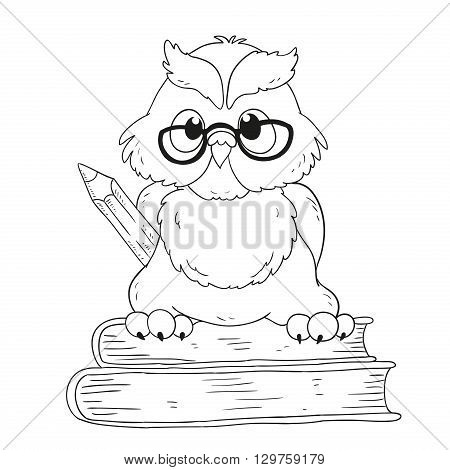 Cartoon character graduation owl with glasses. For coloring book