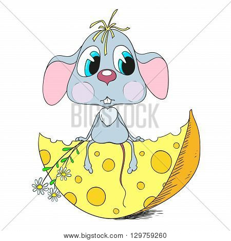 Cartoon sad mouse. Mouse and cheese. Vector illustration