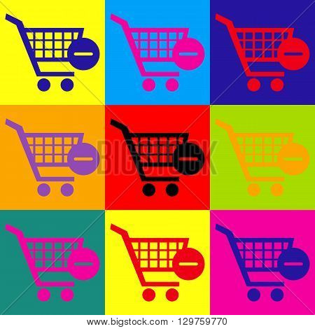Vector Shopping Cart Remove from Cart Icon. Pop-art style colorful icons set.