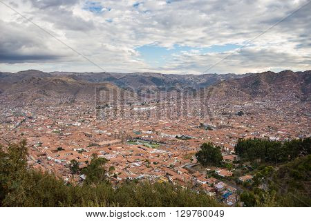 Expansive Cityscape Of Cusco, Peru, And Cloudscape From Above
