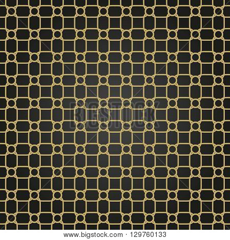 Seamless vector black and golden ornament. Modern geometric pattern with repeating elements