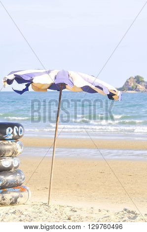 sky float and sea in blur background