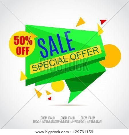 Sale Paper Banner Design.Sale background.Big Sale tag.Sale poster.50% off. Special Offer Tag.Sale Vector Illustration for Promotional shopping flyer discount banner.