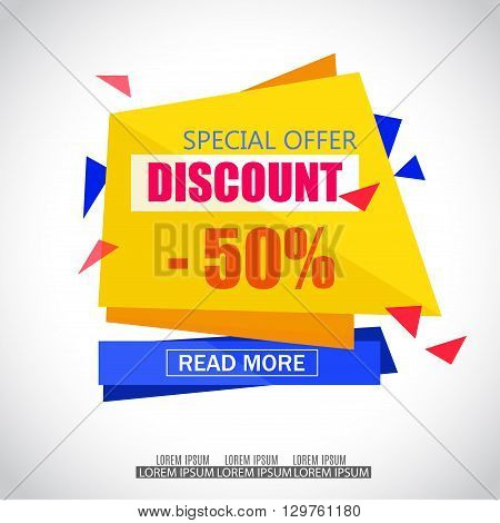 Discount Sale Paper Banner Design. Big Sale tag. Sale poster.50% off. Special Offer Tag.Sale Vector Illustration for Promotional shopping flyer discount banner.