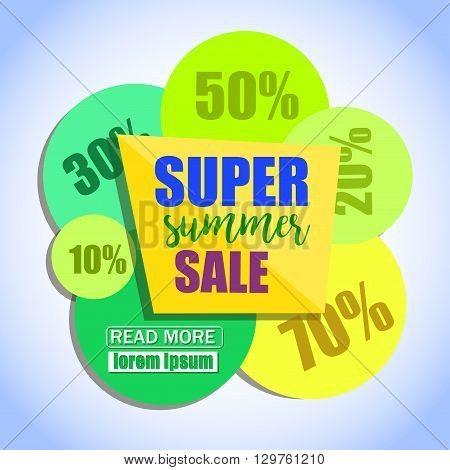 Super Summer Sale Paper Banner Design. Sale background. Big Sale tag. Sale poster. Sale vector. Sale Background Illustration for Promotional shopping flyer discount banner.