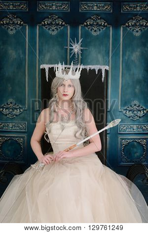 portrait of ice queen sitting on her throne